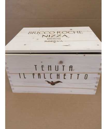 Cassa in Legno Tenuta il Falchetto Riserva Bricco Rocche da 6 bottiglie *34